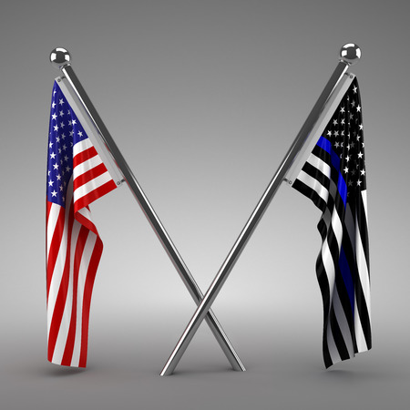 Photo pour American flag and Police flag - 3d render - image libre de droit