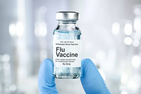 Foto per Small drug vial with influenza vaccine - Immagine Royalty Free