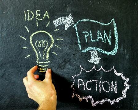 Photo pour Idea blackboard drawing action plan - image libre de droit