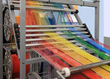yarn warping machine in a textile weaving factory