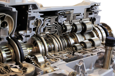 Photo pour Automotive transmission gearbox with lots of details - image libre de droit