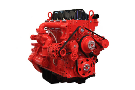Photo pour Red  diesel engine isolated on white background - image libre de droit