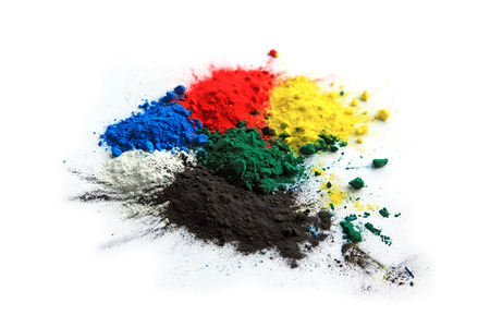 Photo for Collection of colorful powder - yellow, red, black, green, blue, white - Royalty Free Image