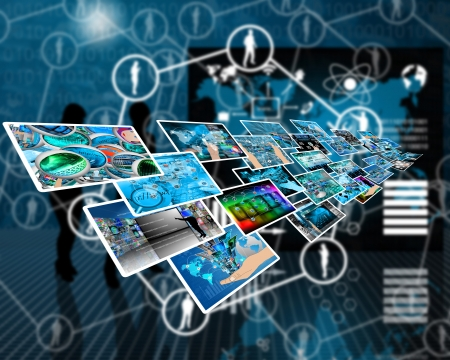 Abstract composition which shows a variety of different images on the theme of computers and high technology