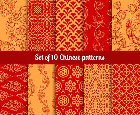 Ilustración de Chinese seamless patterns. Endless textures for wallpapers - Imagen libre de derechos