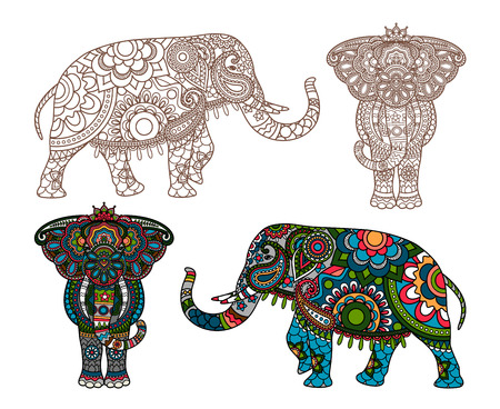 decorated Indian Elephant silhouette and colored