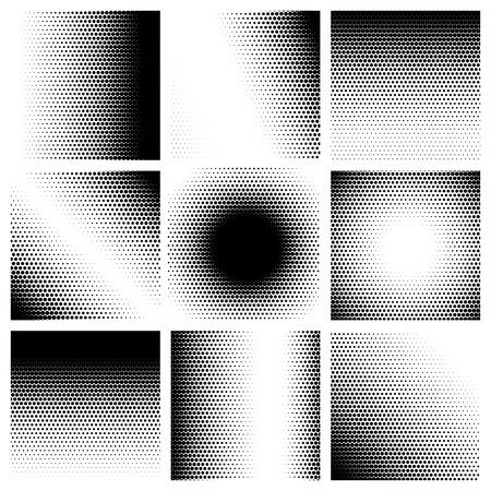 Illustration pour Halftone dots pattern set backgrounds. Vector illustration - image libre de droit