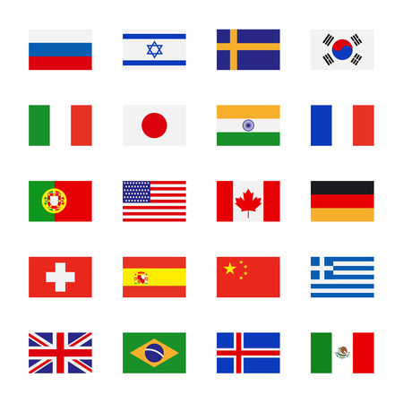 Illustration pour Flags icons in flat style. Simple vector flags of the countries - image libre de droit