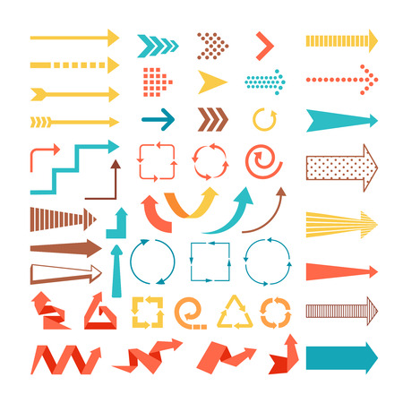 Illustration pour Arrows and directions signs in flat style.  - image libre de droit