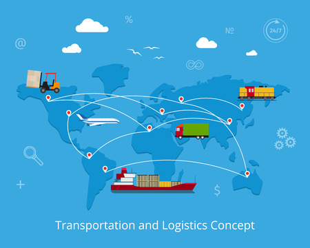 Illustration pour Logistics flat global transportation concept. Maritime and land transport, railway and air transport on world map background - image libre de droit