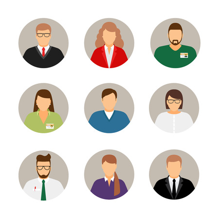 Illustration pour Businesspeople avatars. Males and females business profile pictures - image libre de droit