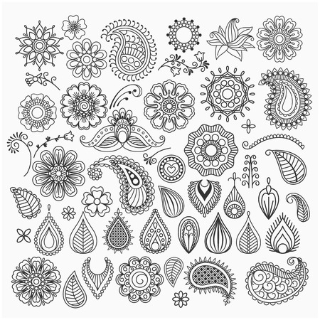 Illustration for Hand drawn vector vintage floral doodle swirls and elements - Royalty Free Image