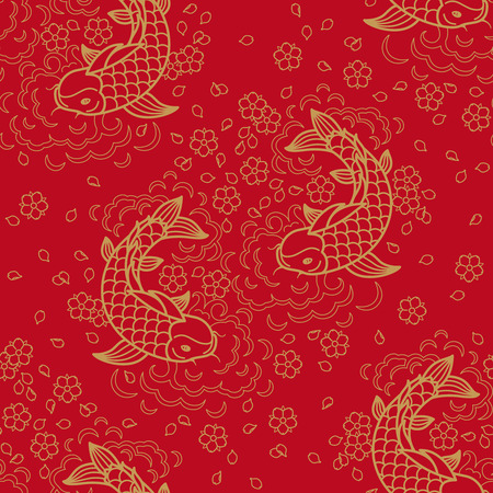 Illustration pour Chinese vector seamless pattern with Koi Fish - image libre de droit