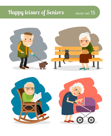 Illustration pour Daily activities for retired old folks - image libre de droit