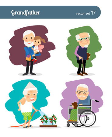 Illustration for Grandfather cartoon character - Royalty Free Image