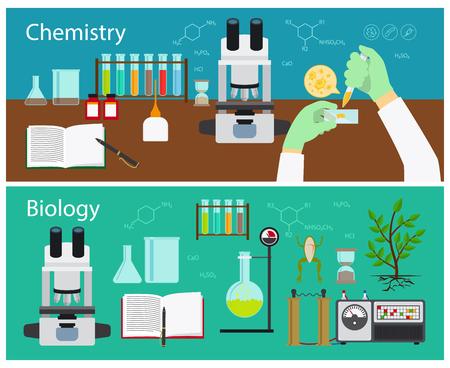 Ilustración de Chemistry and biology research vector banners set - Imagen libre de derechos