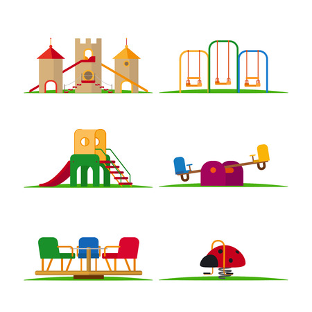 Illustration for Kids playground elements vector. Carousel and children slide, swing and castle - Royalty Free Image