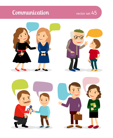 Ilustración de People conversations. Dialogues with speech bubbles. Vector illustration - Imagen libre de derechos