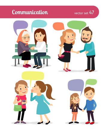 Illustration pour People with speech bubbles, talking to each other. Vector illustration. - image libre de droit