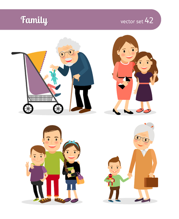 Illustration for Grandfather and granddaughter, grandmother and grandson. Happy family - Royalty Free Image