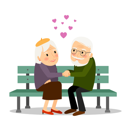 Illustration for Senior couple in love. Elderly people siiting on bench together. Vector illustration. - Royalty Free Image