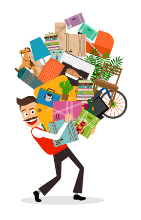 Illustration pour Man moving illustration. Happy man walking with all he has in hands. Vector illustration. - image libre de droit