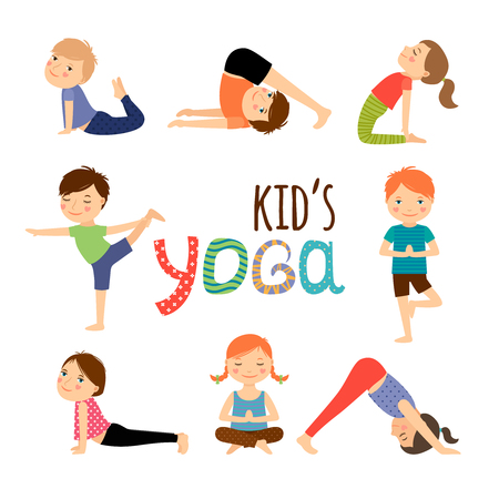 Foto de Yoga kids set. Gymnastics for children and healthy lifestyle. Vector illustration. - Imagen libre de derechos