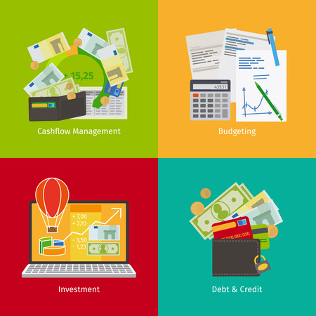 Illustration pour Investing and Personal Finance, Credit and Budgeting. Cashflow management and financial planning. Vector illustration. - image libre de droit