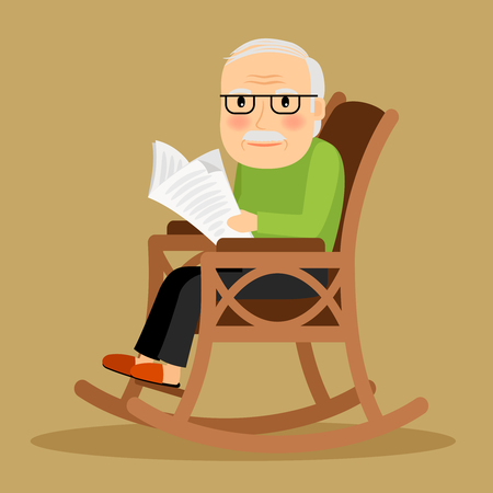Illustration pour Old man sitting in rocking chair and reading newspaper. Vector illustration. - image libre de droit
