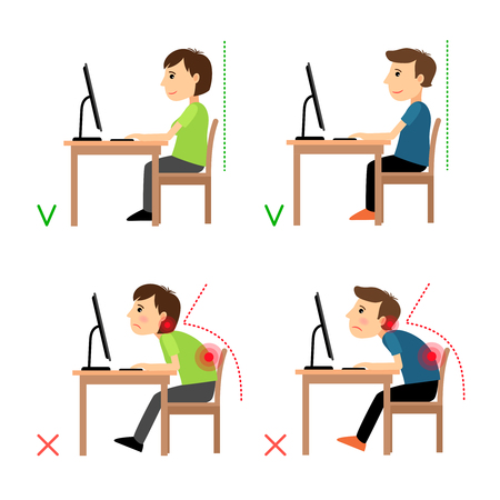 Illustrazione per Incorrect and Correct back sitting position. Man and woman sitting before monitor example. Vector illustration. - Immagini Royalty Free