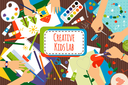 Illustration pour Creative kids lab, top view table with creative kids hands. Cutting paper, painting and sketching. Vector illustration - image libre de droit