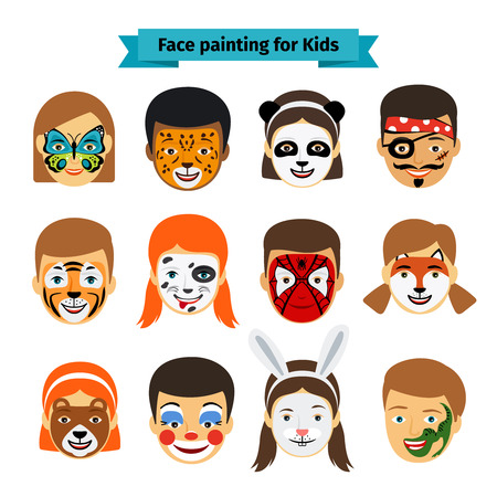 Illustration pour Face painting icons. Kids faces with animals and heroes painting. Vector illustration - image libre de droit
