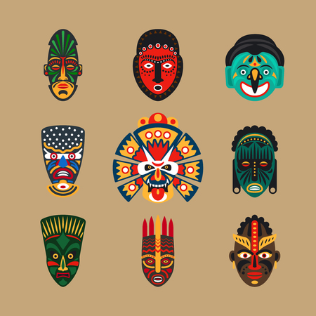 Illustration for Ethnic mask icons or inca flat masks. Tribal ethnic masks illustration - Royalty Free Image