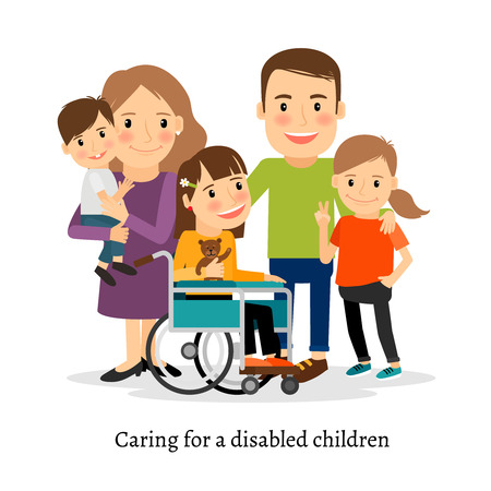 Illustration pour Family with special needs children, family with handicapped children. Vector illustration - image libre de droit