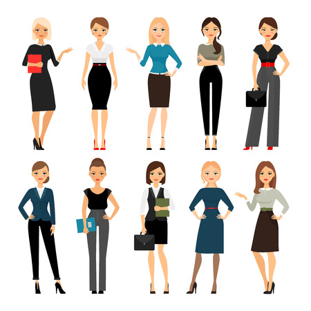 Illustrazione per Women in office clothes. Beautiful woman in business clothes. Vector illustration - Immagini Royalty Free
