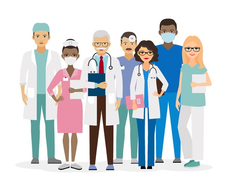 Illustrazione per Medical team. Group of hospital workers illustration - Immagini Royalty Free