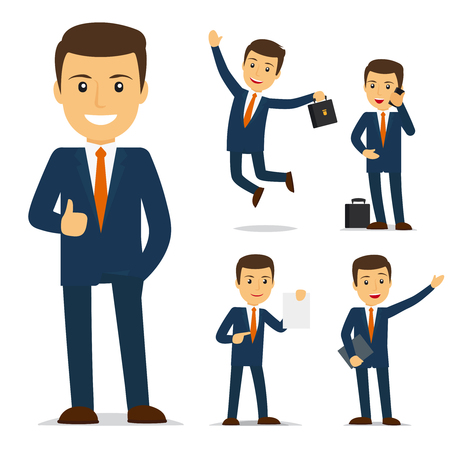 Illustration pour Businessman cartoon character in different poses. Vector illustration - image libre de droit