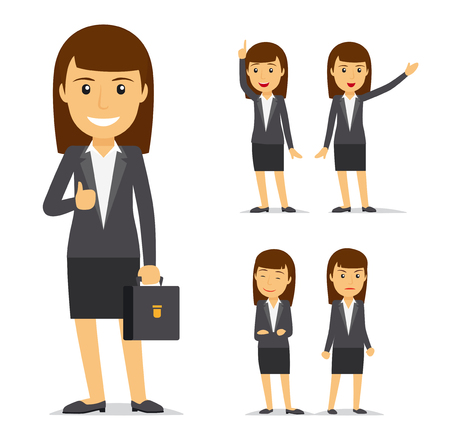 Illustration pour Businesswoman vector cartoon character. Business lady smiling and angry, pointing with her hand - image libre de droit