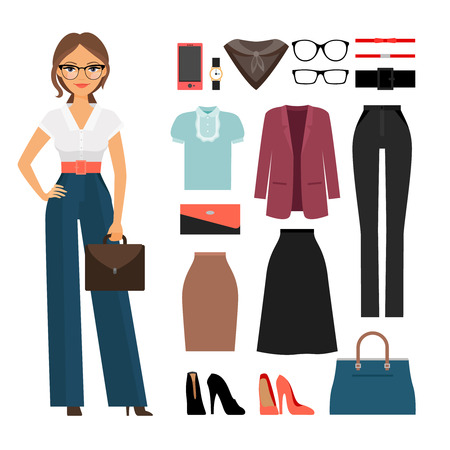 Illustrazione per Business woman clothing. Woman in office clothes vector illustration - Immagini Royalty Free