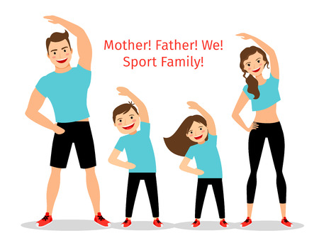 Illustration pour Active family vector illustration. Sport lifestyle parents and children exercising isolated on white background - image libre de droit