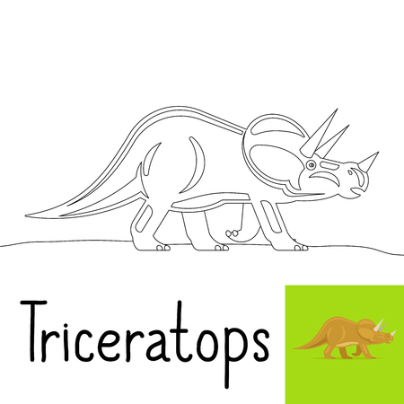 Coloring page for kids with Triceratops dinosaur and colored preview. Vector illustration