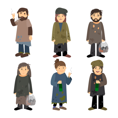 Illustrazione per Homeless people men and women vector icons isolated on white background - Immagini Royalty Free