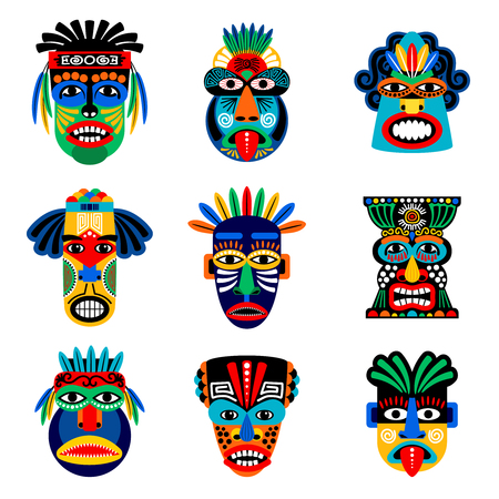Illustration for Zulu or aztec mask vector icons. Mexican indian inca warrior masks isolated on white background - Royalty Free Image