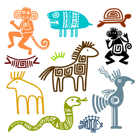 Illustration pour Aztec and maya ancient animal symbols isolated on white background. Inca indians culture patterns vector illustration. - image libre de droit