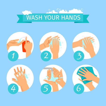 Illustration pour Wash yours hands restroom or medicine vector illustration. People hands washing hygiene infographic icons with soap foam - image libre de droit