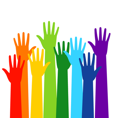 Illustration pour Colored volunteer crowded hands isolated on white background. Raised hand silhouettes, people colorful voting vector illustration - image libre de droit