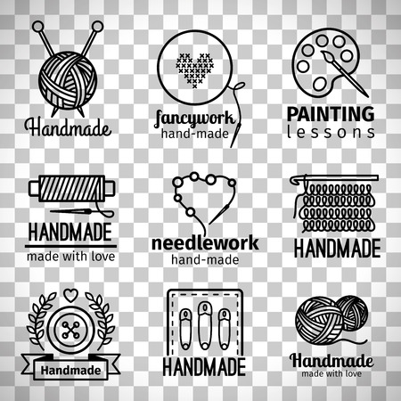 Illustration for Handmade line icons, handmade workshop thin line logo set isolated on transparent background - Royalty Free Image