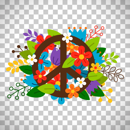 Illustration pour Peace symbol with flowers vector isolated on transparent background - image libre de droit