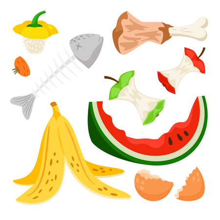 Illustration pour Organic waste, food compost collection isolated on white background. Banana and watermelon rind, fish bone and apple stump vector illustration - image libre de droit