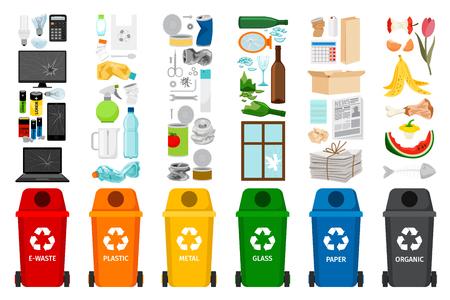 Ilustración de Garbage containers and types of trash, colorful vector icons - Imagen libre de derechos
